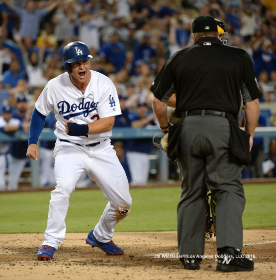 Joc Pederson reacts after scoring in a run. Jill Weisleder/Dodgers