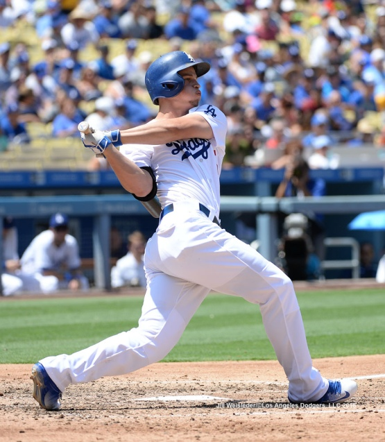 Corey Seager connects for a RBI double in the fifth inning. Jill Weisleder/Dodgers
