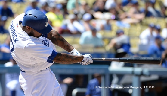 Howie Kendrick connects for a hit. Jill Weisleder/Dodgers