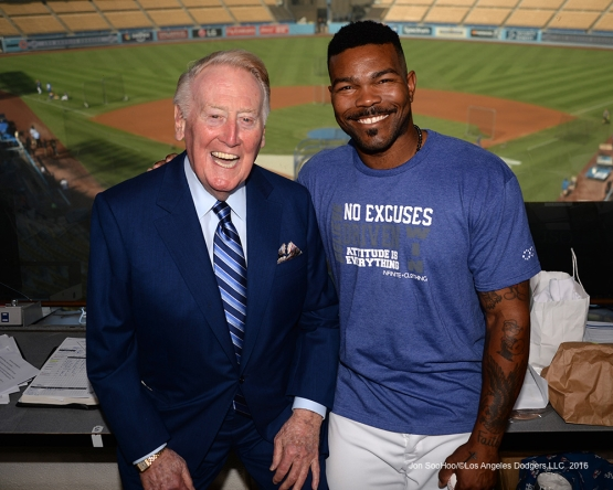 Vin Scully with Howie Kendrick Friday, September 23, 2016 at Dodger Stadium. Photo by Jon SooHoo/©Los Angeles Dodgers,LLC 2016