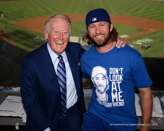 Vin Scully with Josh Fields Friday, September 23, 2016 at Dodger Stadium. Photo by Jon SooHoo/©Los Angeles Dodgers,LLC 2016