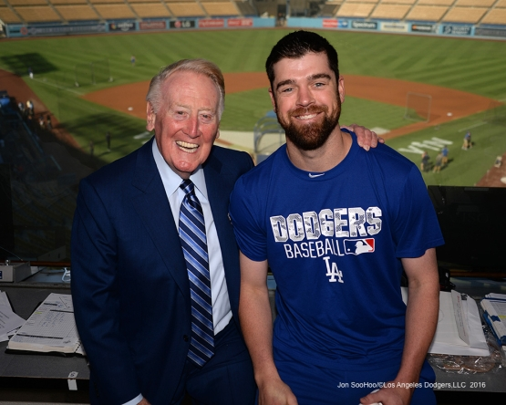 Vin Scully with Louis Coleman Friday, September 23, 2016 at Dodger Stadium. Photo by Jon SooHoo/©Los Angeles Dodgers,LLC 2016
