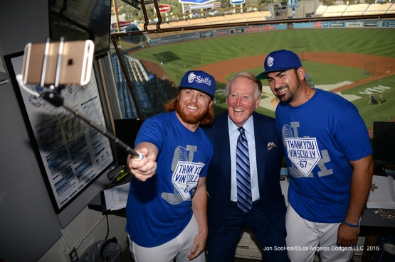Vin Scully with Justin Turner and Adrian Gonzalez  Friday, September 23, 2016 at Dodger Stadium. Photo by Jon SooHoo/©Los Angeles Dodgers,LLC 2016