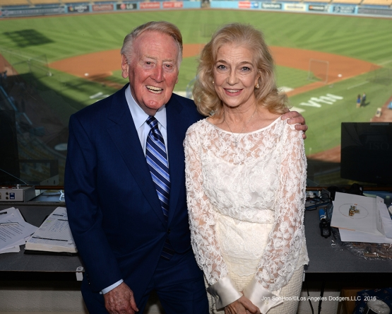 Vin and Sandy Scully  Friday, September 23, 2016 at Dodger Stadium. Photo by Jon SooHoo/©Los Angeles Dodgers,LLC 2016