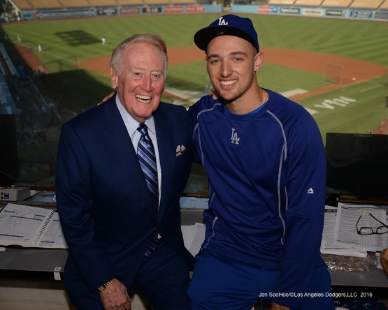 Vin Scully with Trayce Thompson Friday, September 23, 2016 at Dodger Stadium. Photo by Jon SooHoo/©Los Angeles Dodgers,LLC 2016