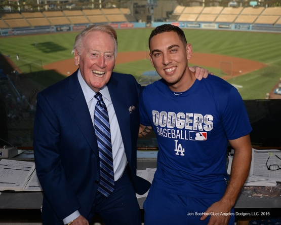 Vin Scully with Austin Barnes Friday, September 23, 2016 at Dodger Stadium. Photo by Jon SooHoo/©Los Angeles Dodgers,LLC 2016
