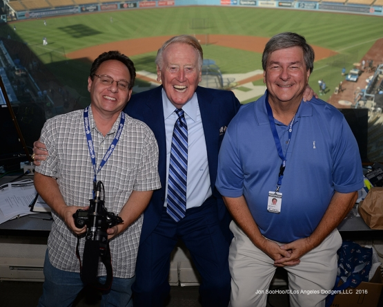 Vin Scully with booth mates Rob Menschel and Boyd Robertson Friday, September 23, 2016 at Dodger Stadium. Photo by Jon SooHoo/©Los Angeles Dodgers,LLC 2016