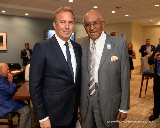Kevin Costner poses with Don Newcombe prior to Vin Scully Ceremony before Los Angeles Dodgers game against the Colorado Rockies Friday, September 23, 2016 at Dodger Stadium. Photo by Jon SooHoo/©Los Angeles Dodgers,LLC 2016