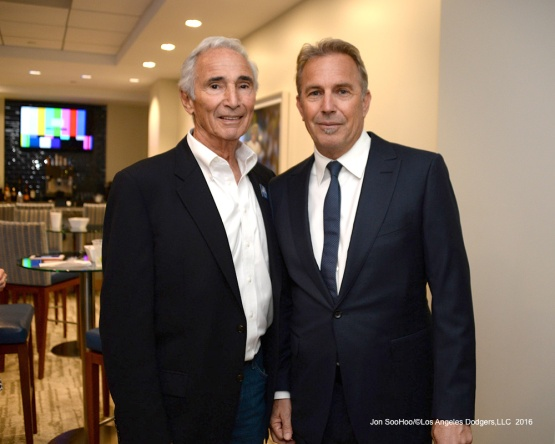 Kevin Costner poses with Sandy Koufax prior to Vin Scully Ceremony  Friday, September 23, 2016 at Dodger Stadium. Photo by Jon SooHoo/©Los Angeles Dodgers,LLC 2016