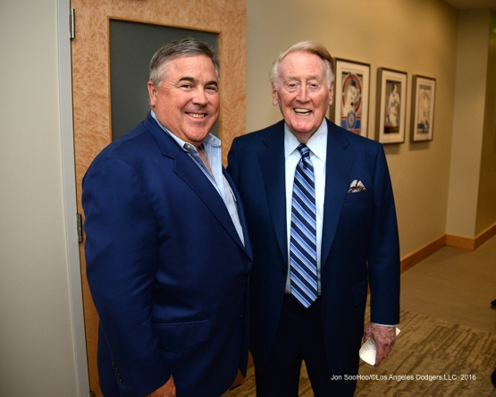 Bobby Patton and Vin Scully pose prior to Vin Scully Ceremony Friday, September 23, 2016 at Dodger Stadium. Photo by Jon SooHoo/©Los Angeles Dodgers,LLC 2016