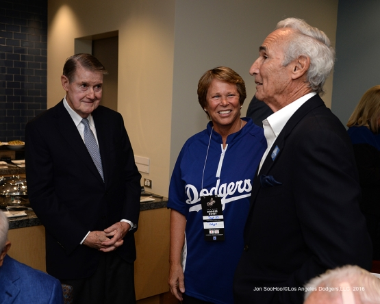 Peter Omalley, Ann Meyers-Drysdale and Sandy Koufax prior to Vin Scully Ceremony Friday, September 23, 2016 at Dodger Stadium. Photo by Jon SooHoo/©Los Angeles Dodgers,LLC 2016