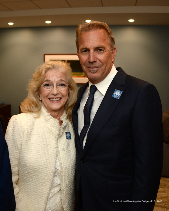 Sandy Scully and Kevin Costner pose prior to Vin Scully Ceremony Friday, September 23, 2016 at Dodger Stadium. Photo by Jon SooHoo/©Los Angeles Dodgers,LLC 2016