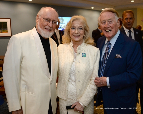 John Williams, Sandy and Vin Scully pose prior to Vin Scully Ceremony Friday, September 23, 2016 at Dodger Stadium. Photo by Jon SooHoo/©Los Angeles Dodgers,LLC 2016