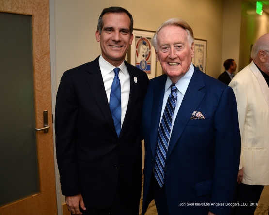 Los Angeles Mayor Eric Garcetti and Vin Scully pose prior to Vin Scully Ceremony Friday, September 23, 2016 at Dodger Stadium. Photo by Jon SooHoo/©Los Angeles Dodgers,LLC 2016