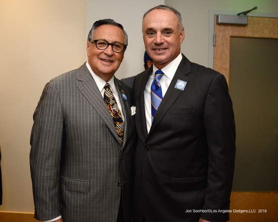 Jaime Jarrin and MLB Commissioner Rob Manfred pose prior to Vin Scully Ceremony Friday, September 23, 2016 at Dodger Stadium. Photo by Jon SooHoo/©Los Angeles Dodgers,LLC 2016