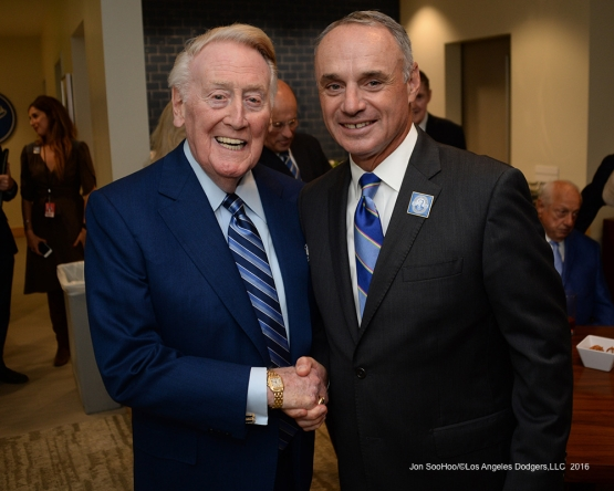 Vin Scully and Rob Manfred pose prior to Vin Scully Ceremony Friday, September 23, 2016 at Dodger Stadium. Photo by Jon SooHoo/©Los Angeles Dodgers,LLC 2016