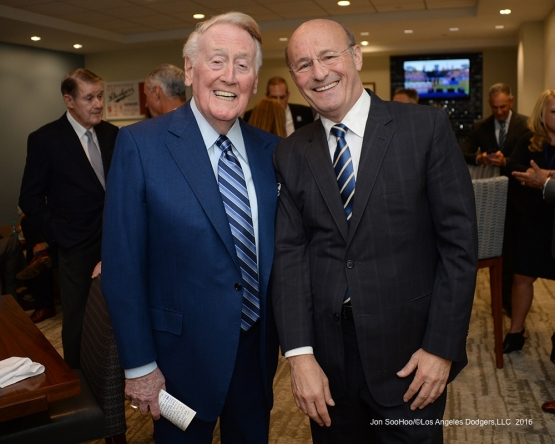 Vin Scully and Stan Kasten pose prior to Vin Scully Ceremony Friday, September 23, 2016 at Dodger Stadium. Photo by Jon SooHoo/©Los Angeles Dodgers,LLC 2016