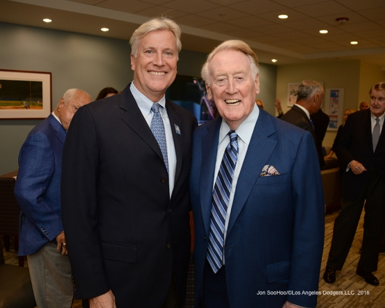 Mark Walter and Vin Scully pose prior to Vin Scully Ceremony Friday, September 23, 2016 at Dodger Stadium. Photo by Jon SooHoo/©Los Angeles Dodgers,LLC 2016