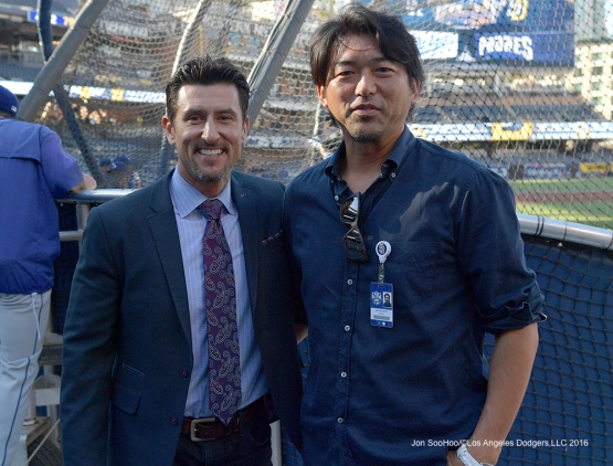 Former Dodger teammates Nomar Garciaparra and Takashi Saito pose before Los Angeles Dodgers game at the San Diego Padres Thursday, September 29, 2016 at Petco Park. Photo by Jon SooHoo/©Los Angeles Dodgers,LLC 2016