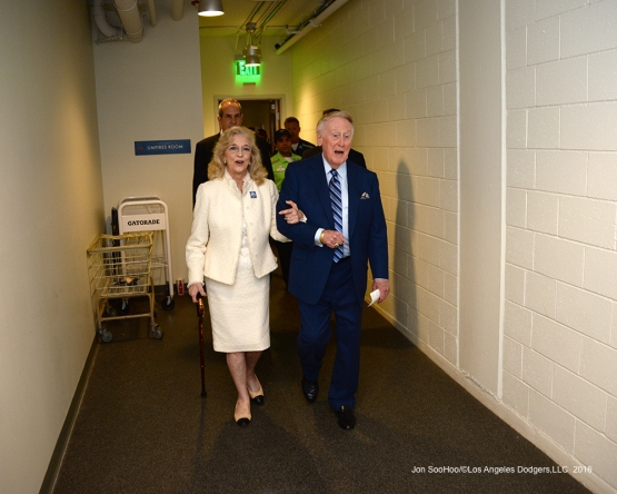 The Scullys' head to the Vin Scully Ceremony Friday, September 23, 2016 at Dodger Stadium. Photo by Jon SooHoo/©Los Angeles Dodgers,LLC 2016