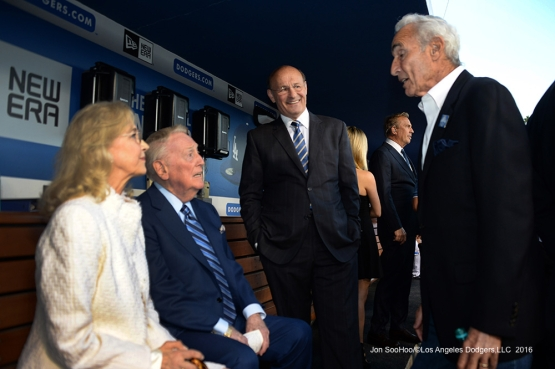 Vin and Sandy Scully with Stan Kasten and Sandy Koufax prior to Vin Scully Ceremony Friday, September 23, 2016 at Dodger Stadium. Photo by Jon SooHoo/©Los Angeles Dodgers,LLC 2016