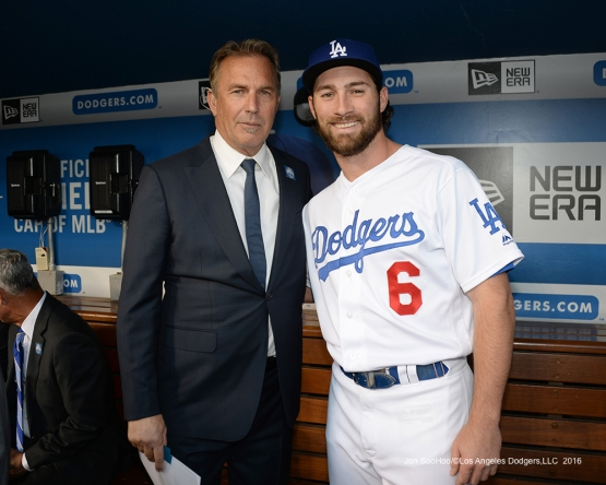 Kevin Costner and Charlie Culberson prior to Vin Scully Ceremony Friday, September 23, 2016 at Dodger Stadium. Photo by Jon SooHoo/©Los Angeles Dodgers,LLC 2016