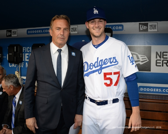 Kevin Costner and Alex Wood prior to Vin Scully Ceremony Friday, September 23, 2016 at Dodger Stadium. Photo by Jon SooHoo/©Los Angeles Dodgers,LLC 2016