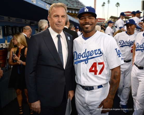 Kevin Costner and Howie Kendrick prior to Vin Scully Ceremony Friday, September 23, 2016 at Dodger Stadium. Photo by Jon SooHoo/©Los Angeles Dodgers,LLC 2016