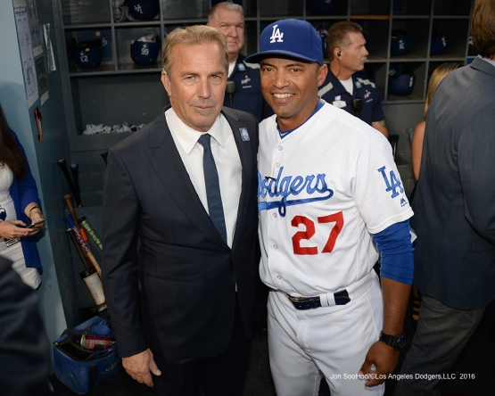 Kevin Costner and George Lombard prior to Vin Scully Ceremony Friday, September 23, 2016 at Dodger Stadium. Photo by Jon SooHoo/©Los Angeles Dodgers,LLC 2016