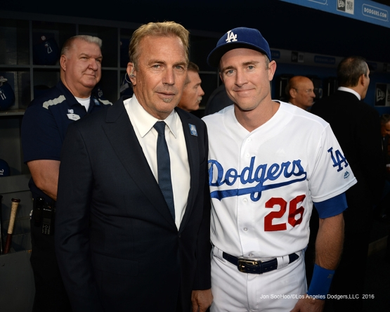 Kevin Costner and Chase Utley prior to Vin Scully Ceremony Friday, September 23, 2016 at Dodger Stadium. Photo by Jon SooHoo/©Los Angeles Dodgers,LLC 2016
