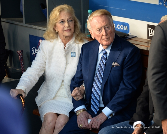Vin and Sandy Scully prior to Vin Scully Ceremony Friday, September 23, 2016 at Dodger Stadium. Photo by Jon SooHoo/©Los Angeles Dodgers,LLC 2016