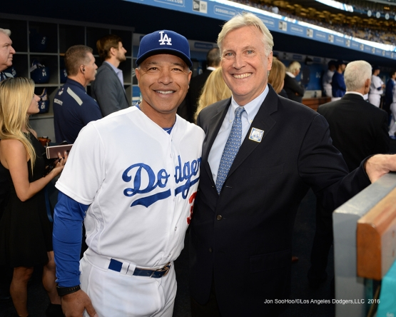 Dave Roberts and Mark Walter prior to Vin Scully Ceremony Friday, September 23, 2016 at Dodger Stadium. Photo by Jon SooHoo/©Los Angeles Dodgers,LLC 2016