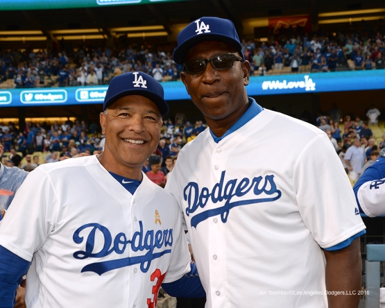 Eric Dickerson and Dave Roberts prior to game against the San Diego Padres Friday September 2, 2016 at Dodger Stadium in Los Angeles,California. Photo by Jon SooHoo/©Los Angeles Dodgers,LLC 2016