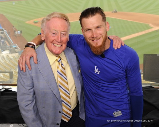 J.P.Howell visits Vin Scully prior to Los Angeles Dodgers game against the San Diego Padres Sunday, September 4, 2016 at Dodger Stadium. Photo by Jon SooHoo/©Los Angeles Dodgers,LLC 2016