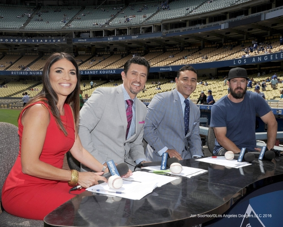 Sportsnet LA crew with Mark Paul Vosselaar prior to Los Angeles Dodgers game against the San Diego Padres Sunday, September 4, 2016 at Dodger Stadium. Photo by Jon SooHoo/©Los Angeles Dodgers,LLC 2016
