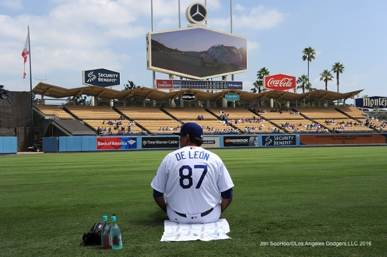 Los Angeles Dodgers Jose DeLŽon prior to first Major League start  against the San Diego Padres Sunday, September 4, 2016 at Dodger Stadium. Photo by Jon SooHoo/©Los Angeles Dodgers,LLC 2016