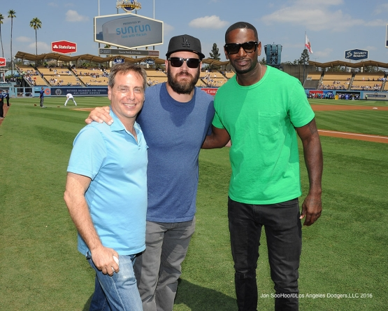 "The ""Pitch"" cast pose prior to game against the San Diego Padres Sunday, September 4, 2016 at Dodger Stadium. Photo by Jon SooHoo/©Los Angeles Dodgers,LLC 2016"
