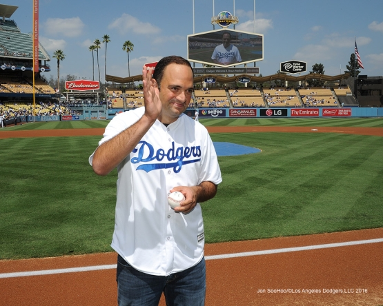 Univision anchor Leon Krauze waves prior to Los Angeles Dodgers game against the San Diego Padres Sunday, September 4, 2016 at Dodger Stadium. Photo by Jon SooHoo/©Los Angeles Dodgers,LLC 2016