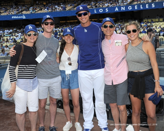 Great Los Angeles Dodger fans pose with Corey Seager prior to game against the San Diego Padres Friday September 2, 2016 at Dodger Stadium in Los Angeles,California. Photo by Jon SooHoo/©Los Angeles Dodgers,LLC 2016