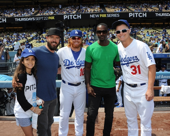 "Justin Turner and Joc Pederson pose with cast of Fox's show ""Pitch"" prior to game against the San Diego Padres Sunday, September 4, 2016 at Dodger Stadium. Photo by Jon SooHoo/©Los Angeles Dodgers,LLC 2016"