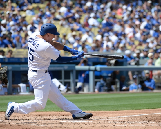 Los Angeles Dodgers Austin Barnes singles  during game against the San Diego Padres Sunday, September 4, 2016 at Dodger Stadium. Photo by Jon SooHoo/©Los Angeles Dodgers,LLC 2016