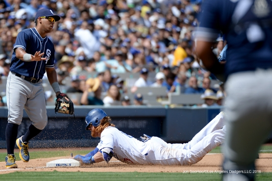 Los Angeles Dodgers Justin Turner is safe at third during game against the San Diego Padres Sunday, September 4, 2016 at Dodger Stadium. Photo by Jon SooHoo/©Los Angeles Dodgers,LLC 2016