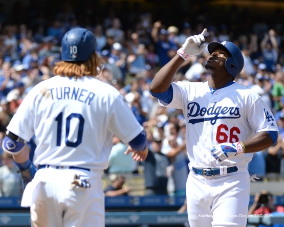 Los Angeles Dodgers Yasiel Puig hits a three run home run against the San Diego Padres Sunday, September 4, 2016 at Dodger Stadium. Photo by Jon SooHoo/©Los Angeles Dodgers,LLC 2016