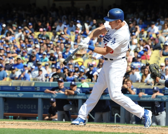 Los Angeles Dodgers Chase Utley gets a hit during game against the San Diego Padres Sunday, September 4, 2016 at Dodger Stadium. Photo by Jon SooHoo/©Los Angeles Dodgers,LLC 2016
