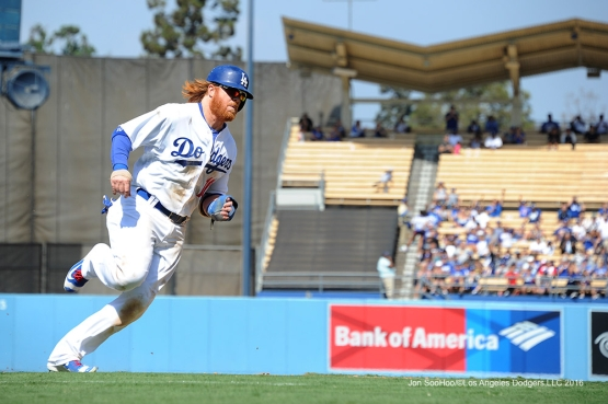 Justin Turner scores during game against the San Diego Padres Sunday, September 4, 2016 at Dodger Stadium. Photo by Jon SooHoo/©Los Angeles Dodgers,LLC 2016