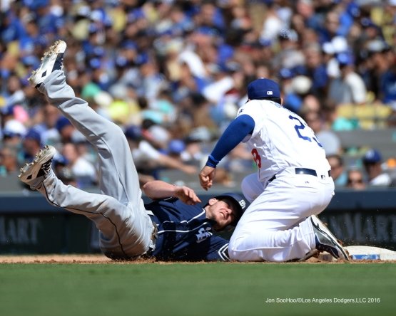 Adrian Gonzalez tags out Padres runner during game  Sunday, September 4, 2016 at Dodger Stadium. Photo by Jon SooHoo/©Los Angeles Dodgers,LLC 2016