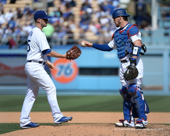 Grant Dayton enters the game against the San Diego Padres Sunday, September 4, 2016 at Dodger Stadium. Photo by Jon SooHoo/©Los Angeles Dodgers,LLC 2016