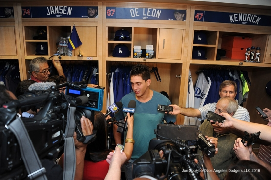 Jose DeLŽon speaks to the media after his first win after defeating the San Diego Padres Sunday, September 4, 2016 at Dodger Stadium. Photo by Jon SooHoo/©Los Angeles Dodgers,LLC 2016