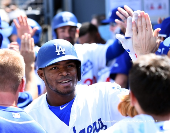 Yasiel Puig high-fives his teammates in the dugout. LOS ANGELES - AUGUST 23:  San Francisco Giants against the Los Angeles Dodgers on August 24, 2016 at Dodger Stadium in Los Angeles, California. LOS ANGELES - AUGUST 23:  San Francisco Giants against the Los Angeles Dodgers on August 24, 2016 at Dodger Stadium in Los Angeles, California. LOS ANGELES - AUGUST 23:  San Francisco Giants against the Los Angeles Dodgers on August 24, 2016 at Dodger Stadium in Los Angeles, California. LOS ANGELES - AUGUST 23:  San Francisco Giants against the Los Angeles Dodgers on August 24, 2016 at Dodger Stadium in Los Angeles, California. LOS ANGELES - AUGUST 24:  San Francisco Giants against the Los Angeles Dodgers on August 24, 2016 at Dodger Stadium in Los Angeles, California. LOS ANGELES - AUGUST 24:  San Francisco Giants against the Los Angeles Dodgers on August 24, 2016 at Dodger Stadium in Los Angeles, California. LOS ANGELES - AUGUST 23:  San Francisco Giants against the Los Angeles Dodgers on August 24, 2016 at Dodger Stadium in Los Angeles, California. LOS ANGELES - AUGUST 23:  San Francisco Giants against the Los Angeles Dodgers on August 24, 2016 at Dodger Stadium in Los Angeles, California. LOS ANGELES - AUGUST 23:  San Francisco Giants against the Los Angeles Dodgers on August 24, 2016 at Dodger Stadium in Los Angeles, California. LOS ANGELES - AUGUST 23:  San Francisco Giants against the Los Angeles Dodgers on August 24, 2016 at Dodger Stadium in Los Angeles, California. LOS ANGELES - AUGUST 24:  San Francisco Giants against the Los Angeles Dodgers on August 24, 2016 at Dodger Stadium in Los Angeles, California. LOS ANGELES - AUGUST 23:  San Francisco Giants against the Los Angeles Dodgers on August 24, 2016 at Dodger Stadium in Los Angeles, California. LOS ANGELES - AUGUST 23:  San Francisco Giants against the Los Angeles Dodgers on August 24, 2016 at Dodger Stadium in Los Angeles, California. LOS ANGELES - AUGUST 23:  San Francisco Giants against the Los Angeles Dodgers on August 24, 2016 at Dodger Stadium in Los Angeles, California. LOS ANGELES - AUGUST 23:  San Francisco Giants against the Los Angeles Dodgers on August 24, 2016 at Dodger Stadium in Los Angeles, California. LOS ANGELES - AUGUST 24:  San Francisco Giants against the Los Angeles Dodgers on August 24, 2016 at Dodger Stadium in Los Angeles, California. LOS ANGELES - AUGUST 23:  San Francisco Giants against the Los Angeles Dodgers on August 24, 2016 at Dodger Stadium in Los Angeles, California. LOS ANGELES - AUGUST 23:  San Francisco Giants against the Los Angeles Dodgers on August 24, 2016 at Dodger Stadium in Los Angeles, California. LOS ANGELES - AUGUST 23:  San Francisco Giants against the Los Angeles Dodgers on August 24, 2016 at Dodger Stadium in Los Angeles, California. LOS ANGELES - AUGUST 23:  San Francisco Giants against the Los Angeles Dodgers on August 24, 2016 at Dodger Stadium in Los Angeles, California. LOS ANGELES - AUGUST 23:  San Francisco Giants against the Los Angeles Dodgers on August 24, 2016 at Dodger Stadium in Los Angeles, California. LOS ANGELES - AUGUST 23:  San Francisco Giants against the Los Angeles Dodgers on August 24, 2016 at Dodger Stadium in Los Angeles, California. LOS ANGELES - AUGUST 23:  San Francisco Giants against the Los Angeles Dodgers on August 24, 2016 at Dodger Stadium in Los Angeles, California. LOS ANGELES - AUGUST 23:  San Francisco Giants against the Los Angeles Dodgers on August 24, 2016 at Dodger Stadium in Los Angeles, California. LOS ANGELES - AUGUST 24:  San Francisco Giants against the Los Angeles Dodgers on August 24, 2016 at Dodger Stadium in Los Angeles, California. LOS ANGELES - AUGUST 23:  San Francisco Giants against the Los Angeles Dodgers on August 24, 2016 at Dodger Stadium in Los Angeles, California. LOS ANGELES - AUGUST 23:  San Francisco Giants against the Los Angeles Dodgers on August 24, 2016 at Dodger Stadium in Los Angeles, California. LOS ANGELES - AUGUST 23:  San Francisco Giants against the Los Angeles Dodgers on August 24, 2016 at Dodger Stadium in Los Angeles, California. LOS ANGELES - AUGUST 23:  San Francisco Giants against the Los Angeles Dodgers on August 24, 2016 at Dodger Stadium in Los Angeles, California. LOS ANGELES - AUGUST 23:  San Francisco Giants against the Los Angeles Dodgers on August 24, 2016 at Dodger Stadium in Los Angeles, California. LOS ANGELES - SEPTEMBER 1:  Los Angeles Dodgers Bark In The Park event on September 1, 2012 at Dodger Stadium in Los Angeles, California.LOS ANGELES - AUGUST 24:  San Francisco Giants against the Los Angeles Dodgers on August 24, 2016 at Dodger Stadium in Los Angeles, California. LOS ANGELES - AUGUST 24:  San Francisco Giants against the Los Angeles Dodgers on August 24, 2016 at Dodger Stadium in Los Angeles, California. LOS ANGELES - AUGUST 23:  San Francisco Giants against the Los Angeles Dodgers on August 24, 2016 at Dodger Stadium in Los Angeles, California. LOS ANGELES - AUGUST 23:  San Francisco Giants against the Los Angeles Dodgers on August 24, 2016 at Dodger Stadium in Los Angeles, California. LOS ANGELES - AUGUST 23:  San Francisco Giants against the Los Angeles Dodgers on August 24, 2016 at Dodger Stadium in Los Angeles, California. LOS ANGELES - AUGUST 23:  San Francisco Giants against the Los Angeles Dodgers on August 24, 2016 at Dodger Stadium in Los Angeles, California. LOS ANGELES - AUGUST 24:  San Francisco Giants against the Los Angeles Dodgers on August 24, 2016 at Dodger Stadium in Los Angeles, California. LOS ANGELES - AUGUST 23:  San Francisco Giants against the Los Angeles Dodgers on August 24, 2016 at Dodger Stadium in Los Angeles, California. LOS ANGELES - AUGUST 23:  San Francisco Giants against the Los Angeles Dodgers on August 24, 2016 at Dodger Stadium in Los Angeles, California. LOS ANGELES - AUGUST 23:  San Francisco Giants against the Los Angeles Dodgers on August 24, 2016 at Dodger Stadium in Los Angeles, California. LOS ANGELES - AUGUST 23:  San Francisco Giants against the Los Angeles Dodgers on August 24, 2016 at Dodger Stadium in Los Angeles, California. LOS ANGELES - AUGUST 24:  San Francisco Giants against the Los Angeles Dodgers on August 24, 2016 at Dodger Stadium in Los Angeles, California. LOS ANGELES - AUGUST 23:  San Francisco Giants against the Los Angeles Dodgers on August 24, 2016 at Dodger Stadium in Los Angeles, California. LOS ANGELES - AUGUST 23:  San Francisco Giants against the Los Angeles Dodgers on August 24, 2016 at Dodger Stadium in Los Angeles, California. LOS ANGELES - AUGUST 23:  San Francisco Giants against the Los Angeles Dodgers on August 24, 2016 at Dodger Stadium in Los Angeles, California. LOS ANGELES - AUGUST 23:  San Francisco Giants against the Los Angeles Dodgers on August 24, 2016 at Dodger Stadium in Los Angeles, California. LOS ANGELES - AUGUST 24:  San Francisco Giants against the Los Angeles Dodgers on August 24, 2016 at Dodger Stadium in Los Angeles, California. LOS ANGELES - AUGUST 23:  San Francisco Giants against the Los Angeles Dodgers on August 24, 2016 at Dodger Stadium in Los Angeles, California. LOS ANGELES - AUGUST 23:  San Francisco Giants against the Los Angeles Dodgers on August 24, 2016 at Dodger Stadium in Los Angeles, California. LOS ANGELES - AUGUST 23:  San Francisco Giants against the Los Angeles Dodgers on August 24, 2016 at Dodger Stadium in Los Angeles, California. LOS ANGELES - AUGUST 23:  San Francisco Giants against the Los Angeles Dodgers on August 24, 2016 at Dodger Stadium in Los Angeles, California. LOS ANGELES - AUGUST 23:  San Francisco Giants against the Los Angeles Dodgers on August 24, 2016 at Dodger Stadium in Los Angeles, California. LOS ANGELES - AUGUST 24:  San Francisco Giants against the Los Angeles Dodgers on August 24, 2016 at Dodger Stadium in Los Angeles, California. LOS ANGELES - AUGUST 23:  San Francisco Giants against the Los Angeles Dodgers on August 24, 2016 at Dodger Stadium in Los Angeles, California. LOS ANGELES - AUGUST 23:  San Francisco Giants against the Los Angeles Dodgers on August 24, 2016 at Dodger Stadium in Los Angeles, California. LOS ANGELES - AUGUST 23:  San Francisco Giants against the Los Angeles Dodgers on August 24, 2016 at Dodger Stadium in Los Angeles, California. LOS ANGELES - AUGUST 23:  San Francisco Giants against the Los Angeles Dodgers on August 24, 2016 at Dodger Stadium in Los Angeles, California. LOS ANGELES - AUGUST 23:  San Francisco Giants against the Los Angeles Dodgers on August 24, 2016 at Dodger Stadium in Los Angeles, California.