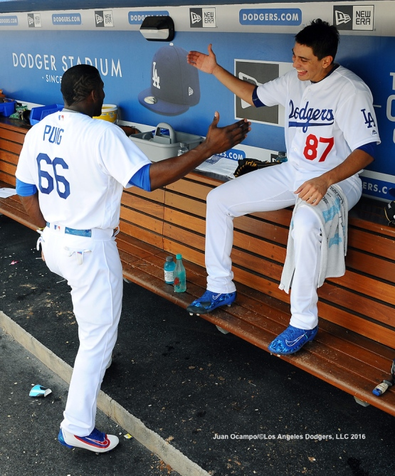 Yasiel Puig is congratulated by Jose De Leon. LOS ANGELES - AUGUST 23:  San Francisco Giants against the Los Angeles Dodgers on August 24, 2016 at Dodger Stadium in Los Angeles, California. LOS ANGELES - AUGUST 23:  San Francisco Giants against the Los Angeles Dodgers on August 24, 2016 at Dodger Stadium in Los Angeles, California. LOS ANGELES - AUGUST 23:  San Francisco Giants against the Los Angeles Dodgers on August 24, 2016 at Dodger Stadium in Los Angeles, California. LOS ANGELES - AUGUST 23:  San Francisco Giants against the Los Angeles Dodgers on August 24, 2016 at Dodger Stadium in Los Angeles, California. LOS ANGELES - AUGUST 24:  San Francisco Giants against the Los Angeles Dodgers on August 24, 2016 at Dodger Stadium in Los Angeles, California. LOS ANGELES - AUGUST 24:  San Francisco Giants against the Los Angeles Dodgers on August 24, 2016 at Dodger Stadium in Los Angeles, California. LOS ANGELES - AUGUST 23:  San Francisco Giants against the Los Angeles Dodgers on August 24, 2016 at Dodger Stadium in Los Angeles, California. LOS ANGELES - AUGUST 23:  San Francisco Giants against the Los Angeles Dodgers on August 24, 2016 at Dodger Stadium in Los Angeles, California. LOS ANGELES - AUGUST 23:  San Francisco Giants against the Los Angeles Dodgers on August 24, 2016 at Dodger Stadium in Los Angeles, California. LOS ANGELES - AUGUST 23:  San Francisco Giants against the Los Angeles Dodgers on August 24, 2016 at Dodger Stadium in Los Angeles, California. LOS ANGELES - AUGUST 24:  San Francisco Giants against the Los Angeles Dodgers on August 24, 2016 at Dodger Stadium in Los Angeles, California. LOS ANGELES - AUGUST 23:  San Francisco Giants against the Los Angeles Dodgers on August 24, 2016 at Dodger Stadium in Los Angeles, California. LOS ANGELES - AUGUST 23:  San Francisco Giants against the Los Angeles Dodgers on August 24, 2016 at Dodger Stadium in Los Angeles, California. LOS ANGELES - AUGUST 23:  San Francisco Giants against the Los Angeles Dodgers on August 24, 2016 at Dodger Stadium in Los Angeles, California. LOS ANGELES - AUGUST 23:  San Francisco Giants against the Los Angeles Dodgers on August 24, 2016 at Dodger Stadium in Los Angeles, California. LOS ANGELES - AUGUST 24:  San Francisco Giants against the Los Angeles Dodgers on August 24, 2016 at Dodger Stadium in Los Angeles, California. LOS ANGELES - AUGUST 23:  San Francisco Giants against the Los Angeles Dodgers on August 24, 2016 at Dodger Stadium in Los Angeles, California. LOS ANGELES - AUGUST 23:  San Francisco Giants against the Los Angeles Dodgers on August 24, 2016 at Dodger Stadium in Los Angeles, California. LOS ANGELES - AUGUST 23:  San Francisco Giants against the Los Angeles Dodgers on August 24, 2016 at Dodger Stadium in Los Angeles, California. LOS ANGELES - AUGUST 23:  San Francisco Giants against the Los Angeles Dodgers on August 24, 2016 at Dodger Stadium in Los Angeles, California. LOS ANGELES - AUGUST 23:  San Francisco Giants against the Los Angeles Dodgers on August 24, 2016 at Dodger Stadium in Los Angeles, California. LOS ANGELES - AUGUST 23:  San Francisco Giants against the Los Angeles Dodgers on August 24, 2016 at Dodger Stadium in Los Angeles, California. LOS ANGELES - AUGUST 23:  San Francisco Giants against the Los Angeles Dodgers on August 24, 2016 at Dodger Stadium in Los Angeles, California. LOS ANGELES - AUGUST 23:  San Francisco Giants against the Los Angeles Dodgers on August 24, 2016 at Dodger Stadium in Los Angeles, California. LOS ANGELES - AUGUST 24:  San Francisco Giants against the Los Angeles Dodgers on August 24, 2016 at Dodger Stadium in Los Angeles, California. LOS ANGELES - AUGUST 23:  San Francisco Giants against the Los Angeles Dodgers on August 24, 2016 at Dodger Stadium in Los Angeles, California. LOS ANGELES - AUGUST 23:  San Francisco Giants against the Los Angeles Dodgers on August 24, 2016 at Dodger Stadium in Los Angeles, California. LOS ANGELES - AUGUST 23:  San Francisco Giants against the Los Angeles Dodgers on August 24, 2016 at Dodger Stadium in Los Angeles, California. LOS ANGELES - AUGUST 23:  San Francisco Giants against the Los Angeles Dodgers on August 24, 2016 at Dodger Stadium in Los Angeles, California. LOS ANGELES - AUGUST 23:  San Francisco Giants against the Los Angeles Dodgers on August 24, 2016 at Dodger Stadium in Los Angeles, California. LOS ANGELES - SEPTEMBER 1:  Los Angeles Dodgers Bark In The Park event on September 1, 2012 at Dodger Stadium in Los Angeles, California.LOS ANGELES - AUGUST 24:  San Francisco Giants against the Los Angeles Dodgers on August 24, 2016 at Dodger Stadium in Los Angeles, California. LOS ANGELES - AUGUST 24:  San Francisco Giants against the Los Angeles Dodgers on August 24, 2016 at Dodger Stadium in Los Angeles, California. LOS ANGELES - AUGUST 23:  San Francisco Giants against the Los Angeles Dodgers on August 24, 2016 at Dodger Stadium in Los Angeles, California. LOS ANGELES - AUGUST 23:  San Francisco Giants against the Los Angeles Dodgers on August 24, 2016 at Dodger Stadium in Los Angeles, California. LOS ANGELES - AUGUST 23:  San Francisco Giants against the Los Angeles Dodgers on August 24, 2016 at Dodger Stadium in Los Angeles, California. LOS ANGELES - AUGUST 23:  San Francisco Giants against the Los Angeles Dodgers on August 24, 2016 at Dodger Stadium in Los Angeles, California. LOS ANGELES - AUGUST 24:  San Francisco Giants against the Los Angeles Dodgers on August 24, 2016 at Dodger Stadium in Los Angeles, California. LOS ANGELES - AUGUST 23:  San Francisco Giants against the Los Angeles Dodgers on August 24, 2016 at Dodger Stadium in Los Angeles, California. LOS ANGELES - AUGUST 23:  San Francisco Giants against the Los Angeles Dodgers on August 24, 2016 at Dodger Stadium in Los Angeles, California. LOS ANGELES - AUGUST 23:  San Francisco Giants against the Los Angeles Dodgers on August 24, 2016 at Dodger Stadium in Los Angeles, California. LOS ANGELES - AUGUST 23:  San Francisco Giants against the Los Angeles Dodgers on August 24, 2016 at Dodger Stadium in Los Angeles, California. LOS ANGELES - AUGUST 24:  San Francisco Giants against the Los Angeles Dodgers on August 24, 2016 at Dodger Stadium in Los Angeles, California. LOS ANGELES - AUGUST 23:  San Francisco Giants against the Los Angeles Dodgers on August 24, 2016 at Dodger Stadium in Los Angeles, California. LOS ANGELES - AUGUST 23:  San Francisco Giants against the Los Angeles Dodgers on August 24, 2016 at Dodger Stadium in Los Angeles, California. LOS ANGELES - AUGUST 23:  San Francisco Giants against the Los Angeles Dodgers on August 24, 2016 at Dodger Stadium in Los Angeles, California. LOS ANGELES - AUGUST 23:  San Francisco Giants against the Los Angeles Dodgers on August 24, 2016 at Dodger Stadium in Los Angeles, California. LOS ANGELES - AUGUST 24:  San Francisco Giants against the Los Angeles Dodgers on August 24, 2016 at Dodger Stadium in Los Angeles, California. LOS ANGELES - AUGUST 23:  San Francisco Giants against the Los Angeles Dodgers on August 24, 2016 at Dodger Stadium in Los Angeles, California. LOS ANGELES - AUGUST 23:  San Francisco Giants against the Los Angeles Dodgers on August 24, 2016 at Dodger Stadium in Los Angeles, California. LOS ANGELES - AUGUST 23:  San Francisco Giants against the Los Angeles Dodgers on August 24, 2016 at Dodger Stadium in Los Angeles, California. LOS ANGELES - AUGUST 23:  San Francisco Giants against the Los Angeles Dodgers on August 24, 2016 at Dodger Stadium in Los Angeles, California. LOS ANGELES - AUGUST 23:  San Francisco Giants against the Los Angeles Dodgers on August 24, 2016 at Dodger Stadium in Los Angeles, California. LOS ANGELES - AUGUST 24:  San Francisco Giants against the Los Angeles Dodgers on August 24, 2016 at Dodger Stadium in Los Angeles, California. LOS ANGELES - AUGUST 23:  San Francisco Giants against the Los Angeles Dodgers on August 24, 2016 at Dodger Stadium in Los Angeles, California. LOS ANGELES - AUGUST 23:  San Francisco Giants against the Los Angeles Dodgers on August 24, 2016 at Dodger Stadium in Los Angeles, California. LOS ANGELES - AUGUST 23:  San Francisco Giants against the Los Angeles Dodgers on August 24, 2016 at Dodger Stadium in Los Angeles, California. LOS ANGELES - AUGUST 23:  San Francisco Giants against the Los Angeles Dodgers on August 24, 2016 at Dodger Stadium in Los Angeles, California. LOS ANGELES - AUGUST 23:  San Francisco Giants against the Los Angeles Dodgers on August 24, 2016 at Dodger Stadium in Los Angeles, California.